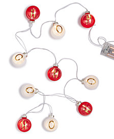 Holiday Lane 6-Feet LED Plastic Red/White Ball ''Ho Ho Ho'' Garland Christmas Decoration, Created for Macy's