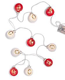 Holiday Lane 6-Feet LED Plastic Red/White Ball ''Ho Ho Ho'' Garland Christmas Decoration, Created for Macy's