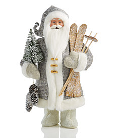 Holiday Lane Santa with Skis & Tree Decoration, Created for Macy's