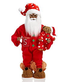 Holiday Lane African American Pajama Santa with Bear & Mug, Created for Macy's