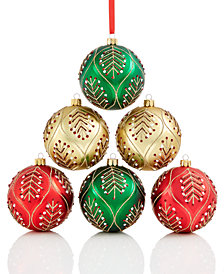 Holiday Lane 6-Pc. Leaf-Pattered Shatterproof Ball Ornament Set, Created for Macy's