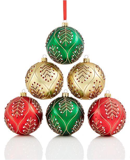 d39387e2377 Holiday Lane 6-Pc. Leaf-Pattered Shatterproof Ball Ornament Set ...