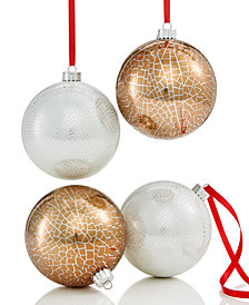 Holiday Lane 4-Pc. Gold & Silver Crackle-Finish Shatterproof Ball Ornament Set, Created for Macy's