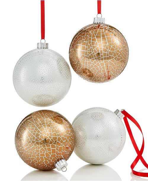 Holiday Lane 4-Pc  Gold & Silver Crackle-Finish Shatterproof Ball