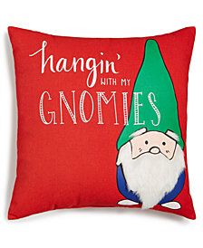 Holiday Lane Square 18'' x 18'' Gnomies Pillow, Created for Macy's