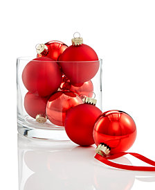 Holiday Lane Glass Red Ball Ornaments, Set of 8, Created for Macy's
