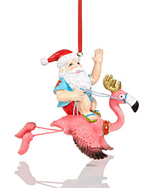 Holiday Lane Santa on Flamingo Ornament, Created for Macy's