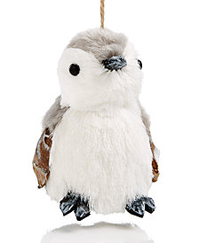 Holiday Lane Gray/White Penguin Sisal Hanging Ornament, Created for Macy's
