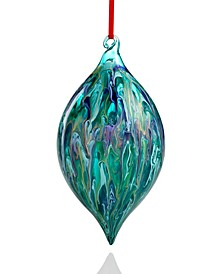 Midnite Blue Marbleized Glass Drop with Gold Accents Ornament, Created for Macy's
