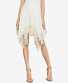 BCBGMAXAZRIA Embroidered Handkerchief-Hem Skirt