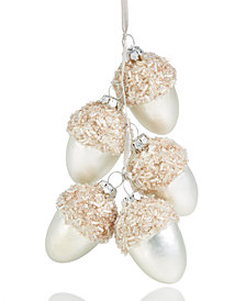Holiday Lane Acorn Cluster with Glitter Ornament, Created for Macy's