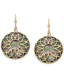 Black Mother-of-Pearl Floral Filigree Medallion Drop Earrings in 14k Gold