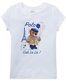 Polo Ralph Lauren Little Girls Graphic Polo Bear Cotton T-Shirt