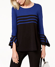 Alfani Petite Colorblocked Striped Sweater, Created for Macy's