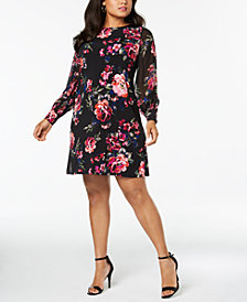 MSK Plus Size Long-Sleeve Floral A-Line Dress
