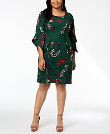 Taylor Plus Size Floral-Print Bell-Sleeve Dress