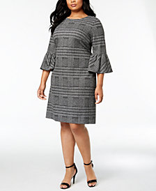 Calvin Klein Plus Size Plaid Bell-Sleeve Dress