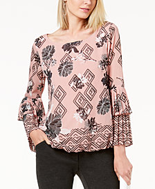 Alfani Petite Printed Pleat Sleeve Bubble Top, Created for Macy's