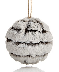 Spotted Owl Faux Fur BallOrnament Created for Macy's