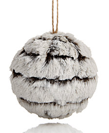 Holiday Lane Snowy Faux Fur Ball Ornament, Created for Macy's