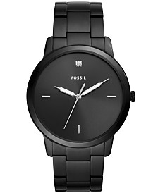 Fossil Men's Minimalist Carbon Series Diamond-Accent Black Stainless Steel Bracelet Watch 44mm