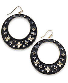 "Thalia Sodi Extra Large 2.5"" Gold-Tone Black Enamel Crystal Flower Drop Hoop Earrings, Created for Macy's"