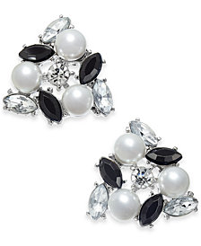I.N.C. Silver-Tone Crystal, Stone & Imitation Pearl Cluster Stud Earrings, Created for Macy's