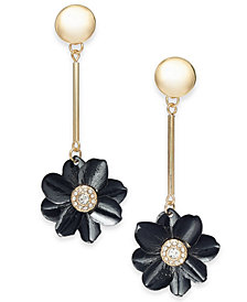 Thalia Sodi Two-Tone Crystal Flower Linear Drop Earrings, Created for Macy's