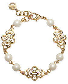 Charter Club Gold-Tone Openwork Flower & Imitation Pearl Link Bracelet, Created for Macy's