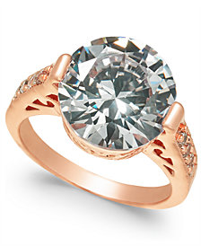 Charter Club Rose Gold-Tone Crystal Etched Ring, Created for Macy's