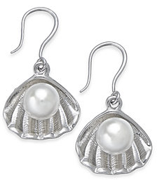 Charter Club Silver-Tone & Imitation Pearl Shell Drop Earrings, Created for Macy's