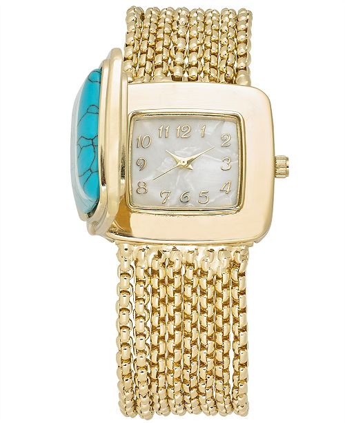 Charter Club Women's Gold-Tone Multi-Chain Bracelet Watch 31mm, Created for Macy's
