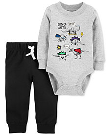 Carter's Baby Boys 2-Pc. Cotton Dino-Mite Bodysuit & Jogger Pants Set
