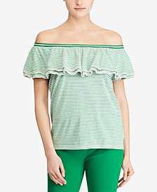 Lauren Ralph Lauren Petite Ruffled Off-The-Shoulder Top