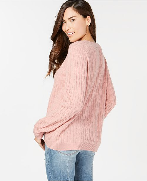 02b3065047baf ... Charter Club Pure Cashmere Cable-Knit Button-Trim Sweater