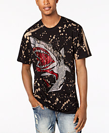 Reason Men's Rhinestone Shark Splatter Graphic T-Shirt