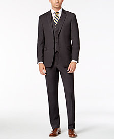 Tommy Hilfiger Men's Modern-Fit THFlex Stretch Charcoal Twill Vested Suit