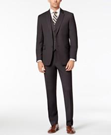 Tommy Hilfiger Men s Modern-Fit THFlex Stretch Charcoal Twill Vested Suit bd2f74e7b37