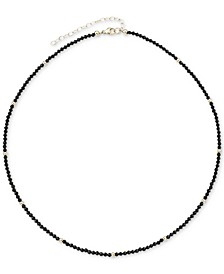 """Lapis Lazuli (2mm) & Gold Bead Choker Necklace in 14k Gold, 14"""" + 2"""" extender (Also in Black Spinel)"""