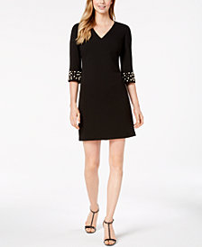 Calvin Klein V-Neck Embellished-Sleeve Dress, Regular & Petite