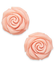 kate spade new york Silver-Tone Stone Rose Stud Earrings