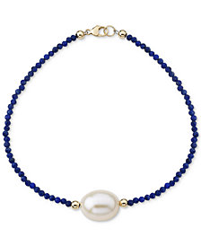 Cultured Freshwater Pearl (10mm) & Lapis Lazuli (2mm) Bracelet in 14k Gold