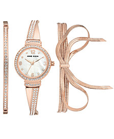 Anne Klein Women's Rose Gold-Tone Bangle Bracelet Watch 30mm Gift Set