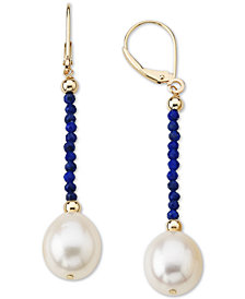 Cultured Freshwater Pearl (10mm) & Lapis Lazuli (2mm) Drop Earrings in 14k Gold