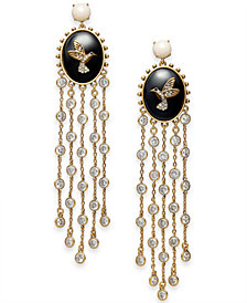 kate spade new york Gold-Tone Crystal, Stone & Imitation Pearl Hummingbird Statement Earrings