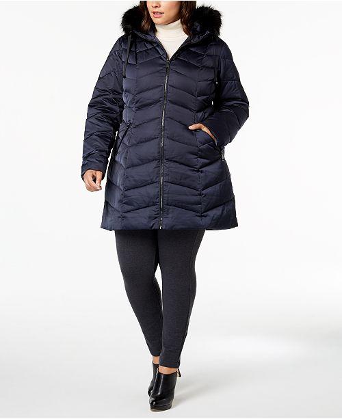 e17a8602a22d4 T Tahari Plus Size Faux-Fur-Trim Puffer Coat   Reviews - Coats ...