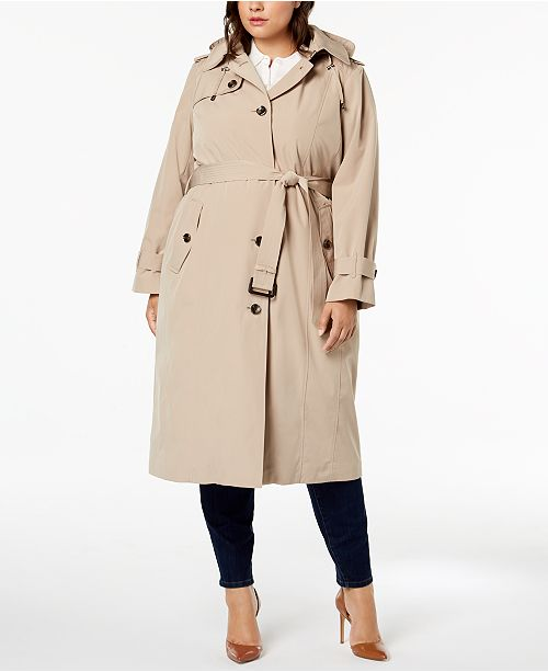 735611c0a4b London Fog Plus Size Hooded Trench Coat   Reviews - Coats ...