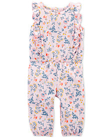 Carter's Baby Girls Floral-Print Ruffled Cotton Jumpsuit
