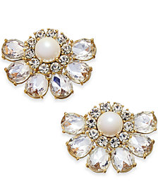 kate spade new york Gold-Tone Crystal & Imitation Pearl Cluster Stud Earrings