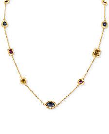 "Multi Sapphire Necklace, 16"""